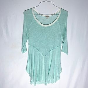 Free People INTIMATELY 3/4 Sleeve Mint Green Top